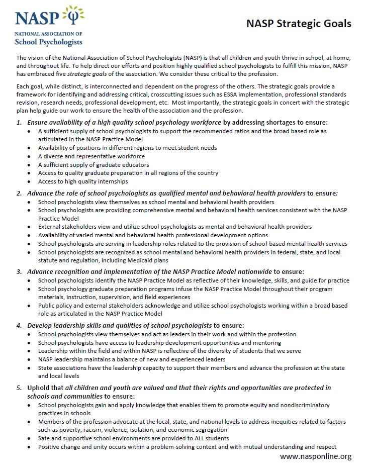 NASP Strategic Goals