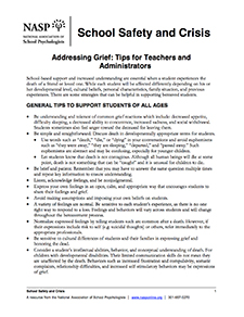 addressing grief tips for teachers and administrators