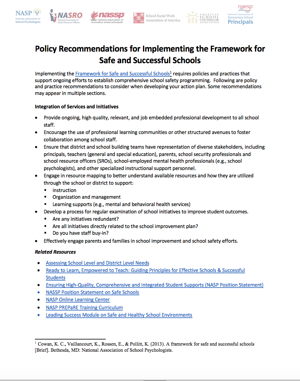 Federal Report Recommends Teaching Self >> Policy Recommendations For Implementing The Framework For Safe