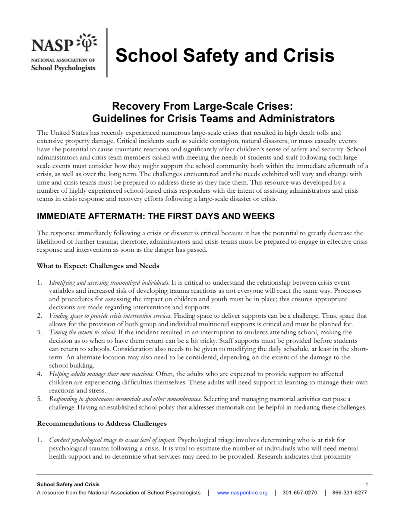 Recovery From Large Scale Crises Guidelines For Crisis Teams And
