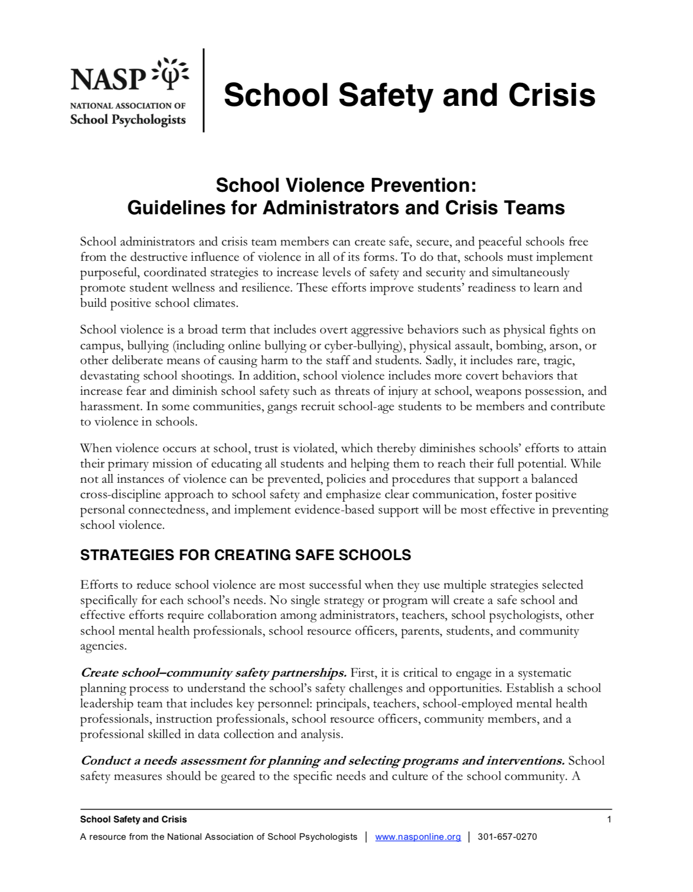 School Violence Prevention Guidelines For Administrators And Crisis