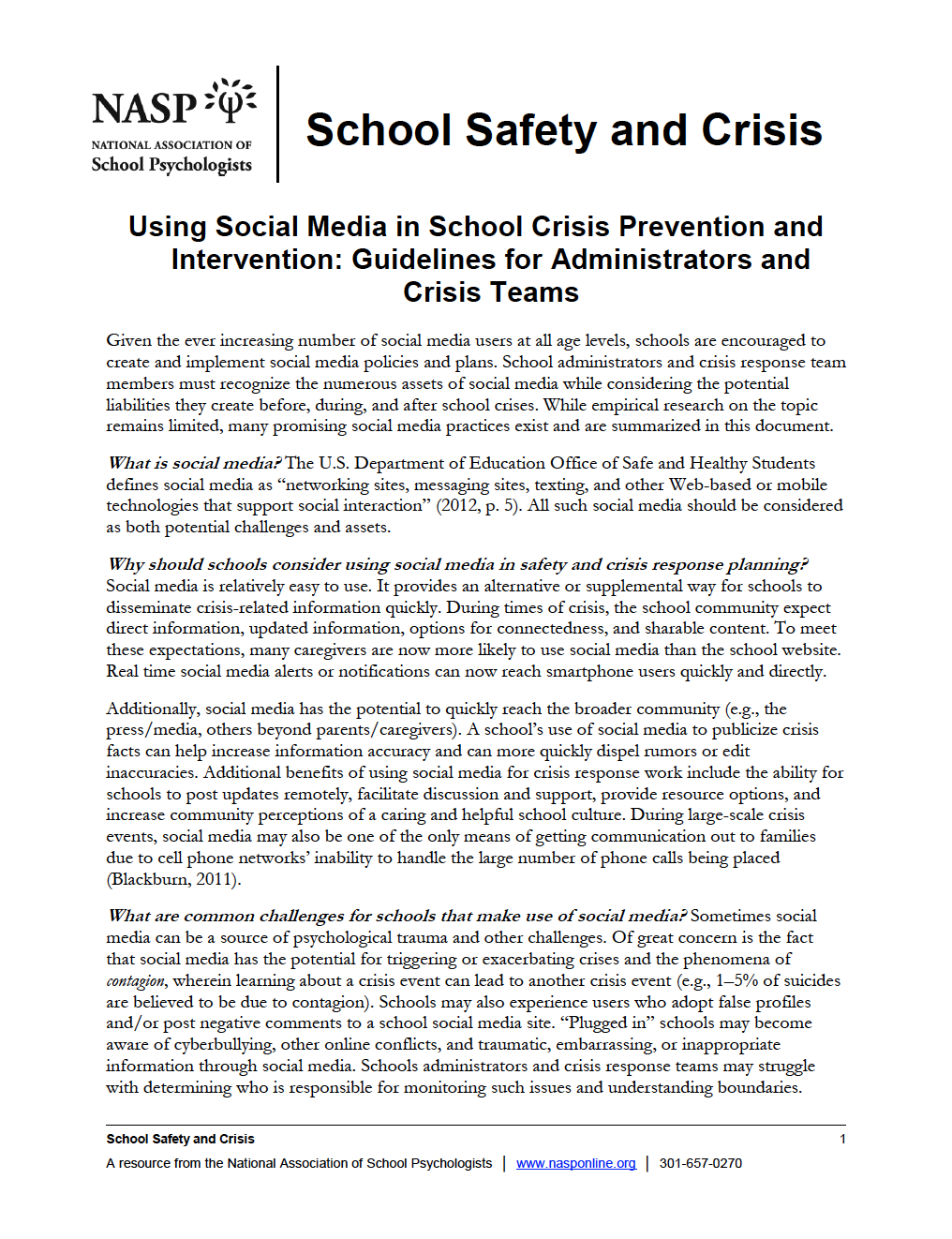 Using Social Media In School Crisis Prevention And Intervention